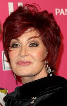Sharon Osbourne has a flattering layered short cut that lets the rich ruby color take center stage.More Hairstyles for Older Women:Short Haircuts Over 50Bob Hairstyles Over 4010 Perfect PonytailsShort Hair Over 40Red Hair Over 40Updos Over 40Bronde Hairstyles Over 40Dos and Don'ts of Bangs Over 40To...