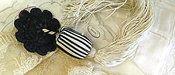 Antique Edwardian Dress Cloak Tassel Black White Embellishment
