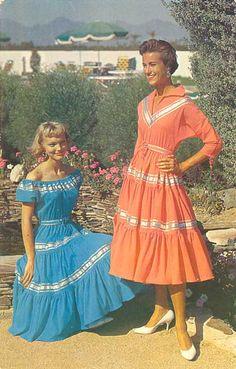 Cute & Colorful Squaw/Patio dresses circa 1950s.