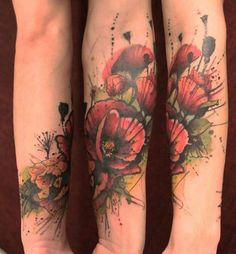 28-Watercolor-Flower-Forearm-Tattoo Watercolor Poppy Tattoo, Poppies Tattoo, Watercolor Poppies, Trendy Tattoos, Tattoos For Guys, Tattoos For Women, Cool Forearm Tattoos, Cool Tattoos, Tattoo Off