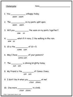 Great page with a lot of free printable Homophone worksheets ...