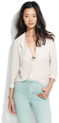 I love white button down blouses, no brand in particular. J Crew and Madewell has some nice ones but you can get a less expensive ones at Forever 21.