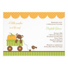 Fall Baby Bear in Wagon Invitations