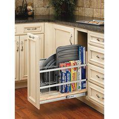 Rev-A-Shelf Tray Divider/Foil and Wrap Soft-Close Organizer Size: Kitchen Furniture, Kitchen Decor, Kitchen Ideas, Kitchen Layout, Kitchen Inspiration, 10x10 Kitchen, Kitchen Modern, Country Kitchen, Taupe Kitchen