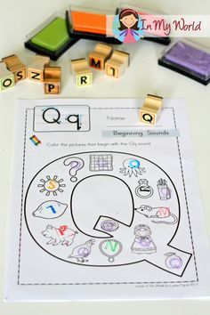 Letter Q FREE no prep beginning sounds worksheet. Use with stamps to make the activity even more fun and hands-on!