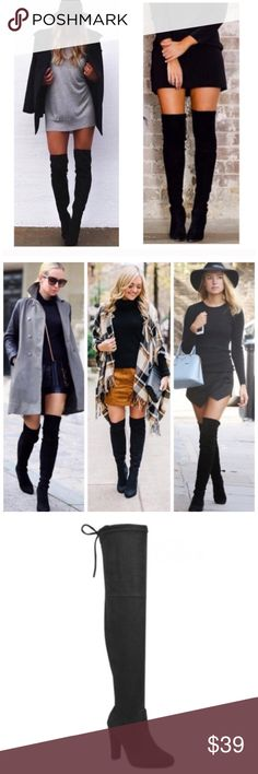 "BACK FOR FALL! Black Suede Over Knee Boots 5.5-10 Our best selling hottest boots are back again for Fall!  Black vegan suede over the knee boots, 4"" heel, tie at top to loosen or make tighter, very fitted pull on style, does have some stretch, height from top of heel to top of boots is around 21""-22"".  Available in sizes 5.5, 6, 6.5, 7, 7.5, 8, 8.5, 9, or 10.  ARRIVING MONDAY/SHIPPING TUESDAY OF NEXT WEEK!  No trades, price firm unless bundled.  BUNDLE 3 OR MORE ITEMS FOR 15% OFF!! Boutique…"