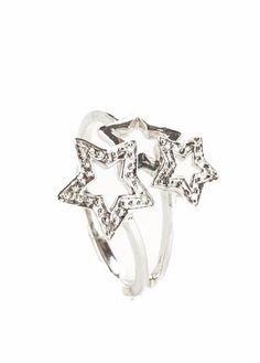 GLK 10K WHITE GOLD 0.08CT DIAMOND THREE STAR COCKTAIL RING SIZE 7 #GLK #Cocktail