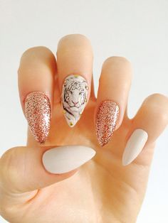Hey, I found this really awesome Etsy listing at https://www.etsy.com/listing/200196728/x-rose-gold-tiger-x-white-tiger-nails