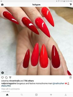 """AWESOME shades of red nail art idea! Stiletto nails"