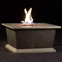 Shop Allen + Roth Somersville 34.65 In W 50,000 BTU Brown/Tan Composite ·  Gas Fire TableAllen ...