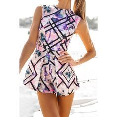 Wholesale Stylish Round Collar Sleeveless Floral Print Women's Romper Only $7.02 Drop Shipping | TrendsGal.com