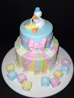 Example of cake we like but want the colors to be Pastel Blue, Pastel Green, Pastel Yellow NO PINK...