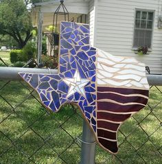 Shape of the great lone star state with the bright field of our state flag. Perfect for fence or gate accessory . Order a street number to