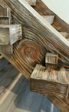 Timber Frame Staircase with through tenons held with wedges - Timber Frame Staircase with through Metal Pole Barns, Metal Barn Homes, Metal Building Homes, Pole Barn Homes, Barn Homes Floor Plans, Pole Barn House Plans, Rustic Stairs, Wooden Stairs, Timber Stair