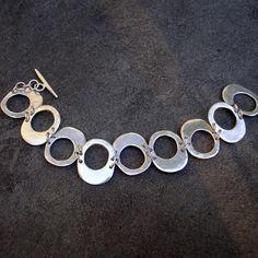 8820c3ad4272 Sterling Silver Bracelet Hammered Silver Link Bracelet