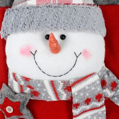43cm 3D Fabric Frosty Snowman Christmas Stocking Thumbnail 3