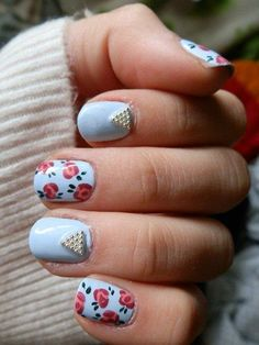 flower & studded nails ♡ x Great Nails, Fabulous Nails, Gorgeous Nails, Nice Nails, Pretty Nail Designs, Nail Art Designs, Nails Design, Hot Nails, Hair And Nails