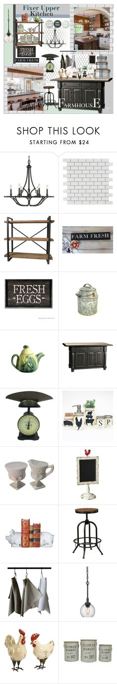 """""""Fixer Upper Style Kitchen"""" by craftygeminicreation ❤ liked on Polyvore featuring interior, interiors, interior design, home, home decor, interior decorating, Golden Lighting, Merola, Aurelle Home and DutchCrafters"""