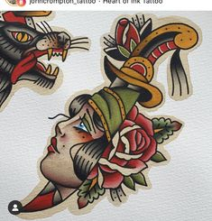 Traditional Tattoo Painting, Traditional Tattoo Flash Art, Traditional Tattoo Drawings, Neo Traditional Art, Traditional Dagger Tattoo, Traditional Tattoo Woman, American Traditional, Traditional Paintings, Dessin Old School