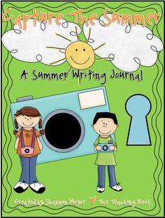 Capture the Summer. A summer writing journal. Summer Journal, Enrichment Activities, Summer School, Writing Ideas, Little Man, Spelling, Kid Stuff, Journals, Teacher