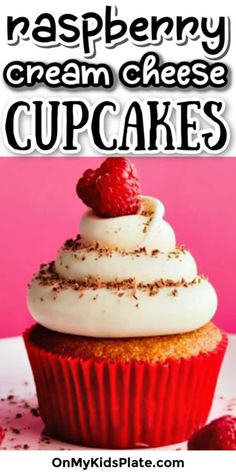 These raspberry cream cheese cupcakes are packed with fresh raspberries into a delicious vanilla cupcake. Topped with cream cheese frosting, this homemade cupcake recipe will become a new family favorite. The perfect recipe for kids to bake too! Homemade Cupcake Recipes, Quick Dessert Recipes, Baking Recipes, Dessert Ideas, Raspberry Cupcakes, Yummy Cupcakes, Holiday Desserts, Easy Desserts, Cupcakes With Cream Cheese Frosting