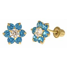 Turquoise Flower Cluster Earrings for Girls with 6 Stones in 14K Yellow Gold and Screw Backs