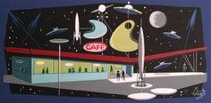 El Gato Gomez Painting Retro 1950's SciFi Outer Space Googie Rocket Robot UFO | eBay