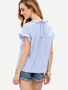 Blusa rayas cuello peter pan manga corta -azul-Spanish SheIn(Sheinside)