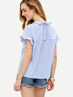 Shop Blue Striped Peter Pan Collar Short Sleeve Blouse online. SheIn offers Blue…