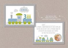 Einladungskarten - PDF Einladungskarte EISENBAHN Kindergeburtstag - ein Designerstück von Louise-Wiese bei DaWanda