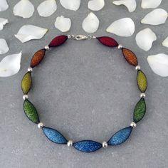 Rainbow net necklaceredorangeyellowgreenlight by tamiperetz, $69.00