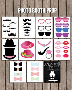BOOM SALE Instant Download Photoboot Props – 44 Items Printable Photobooth Props – Mustache Printable– Photobooth Sign For Wedding and Party