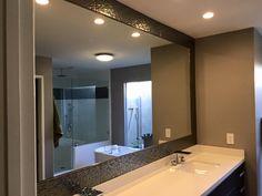 Great option for a boring standard bathroom mirror! www.framelessglassaz.com