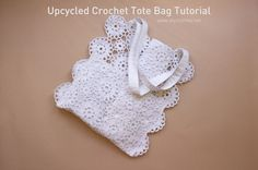 A beginners tutorial on how to make a trendy summer tote using vintage crochet pieces. Crochet tablecloths or pieces are usually white. Beach Crochet, Crochet Tote, Cotton Crochet, Make Your Own Clothes, Diy Clothes, Sewing Patterns, Sewing Ideas, Crochet Ideas, Diy Clothing