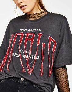 T-shirt with embroidered slogan - New - Bershka United Kingdom