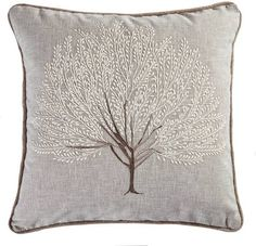 Embroidered with a stunning tree design in soft neutral and brown tones, this square cushion is crafted with a durable polycotton blend fabric with a natural gr. Cottage Lounge, Tree Designs, Soft Furnishings, Neutral, Cushions, Throw Pillows, Floral, Fabric, Crafts