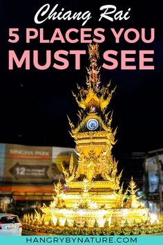 Your one day video travel guide to the top 5 things to do in the mountainous city of Chiang Rai in Thailand. Discover the eerie beauty of Wat Rong Khun (White Temple), Chiang Rai's iconic Golden Clock Tower, the night market, and more!   Chiang Rai, Chiang Rai Thailand, Things to do in Chiang Rai, Chiang Rai White Temple, Chiang Rai Thailand Travel, Thailand Travel, Thailand