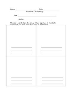 Picture Dictionary Activity Also has free Character Activity down the page a bit. Dictionary Activities, Dictionary Skills, Picture Dictionary, Teaching Reading, Teaching Ideas, Character Activities, Free Characters, Types Of Resources, Word Study