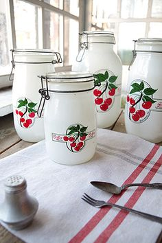 Red & White Cherry Canister Set