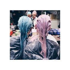 BFFs who bleach together, stay together. Head on over to Suavecita.com and check out what's coming soon. #Hair #Hairstyle #Haircolor #Color #Bleach #Funky #Bright #Blue #Pink #Hairdresser #Stylist #Salon #Love #Suavecitabeauty #Suavecita