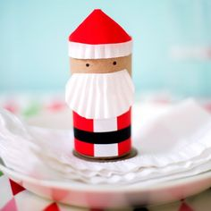 Santa favor box made from recycled cardboard tubes... from the book Paper Goods Projects, by Jodi Levine