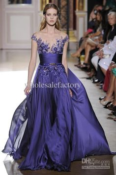 Wholesale Prom Dresses - Buy Purple 2013 Cape Sleeved Applique Scalloped Chiffon Lace Zuhair Murad A Line Evening Dresses 151035, $151.14 | DHgate