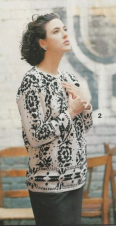 #02 Floral Colorwork Pullover by Adrienne Vittadini Published in Vogue Knitting, Fall/Winter 1987 this source is out of print