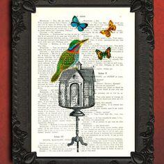 Vogelhuisje met vlinders illustratie  vogel boek door MadameMemento, $7.99