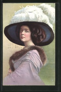 old postcard: AK Portrait einer jungen Schönheit mit Hut