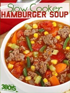 This Hamburger Soup in the Slow Cooker is true Southern Comfort Food favorite that only takes about 15 minute to prepare for 8 hours of crockpot cooking!