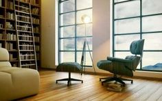 Another home library with. wait for it. an Eames lounge