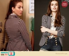 Spencer's black and white striped blazer on Pretty Little Liars.  Outfit Details: http://wornontv.net/34068/ #PLL