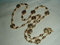 gold plated st.john logo stations necklace by qualityvintagejewels, $199.00
