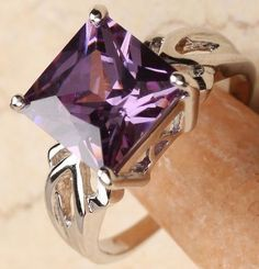 'Size 8 – Purple Amethyst 18k Gold Filled  Ring' is going up for auction at 12am Wed, Aug 29 with a starting bid of $5.